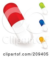 Royalty Free RF Clipart Illustration Of A Digital Collage Of Colorful Pill Capsules by michaeltravers