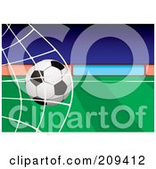 Royalty Free RF Clipart Illustration Of A Soccer Ball Crashing Into A Net by michaeltravers