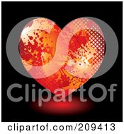 Royalty Free RF Clipart Illustration Of A Grungy Red And Orange Halftone Splatter Heart Over Black by michaeltravers