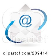 Royalty Free RF Clipart Illustration Of A 3d Email Envelope Icon With Blue Arrows by michaeltravers