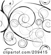 Seamless Black Swirly Vine Pattern Over White