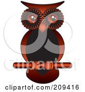 Red And Black Owl Perched On A Stick