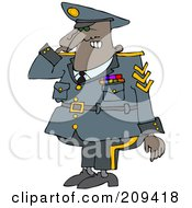 Royalty Free RF Clipart Illustration Of A Black Army Man Saluting by djart
