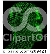 Royalty Free RF Clipart Illustration Of A 3d Green Wire Frame Virtual Male Head Facing Right by Tonis Pan