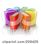 Royalty Free RF Clipart Illustration Of A Circle Of 3d Colorful Ring Binders by Tonis Pan