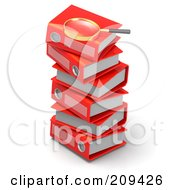 Royalty Free RF Clipart Illustration Of A 3d Magnifying Glass On Top Of A Stack Of Red Binders by Tonis Pan