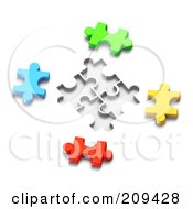 Royalty Free RF Clipart Illustration Of A 3d Colorful Puzzle Pieces With Spaces For Them