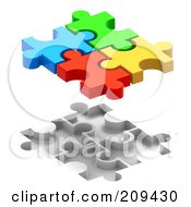 Royalty Free RF Clipart Illustration Of 3d Colorful Puzzle Pieces Floating Over Spaces For Them