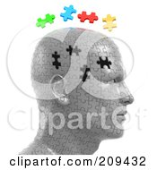 Royalty Free RF Clipart Illustration Of 3d Puzzle Head With The Colorful Pieces Floating Over The Empty Spaces
