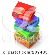 Royalty Free RF Clipart Illustration Of A 3d Magnifying Glass On Top Of A Stack Of Colorful Binders