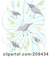 Royalty Free RF Clipart Illustration Of A Background Of Ufos And Stars Over Blue And White Swirls by mheld