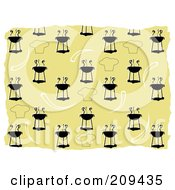 Royalty Free RF Clipart Illustration Of A Bbq And Chef Hat Pattern Background by mheld