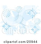 Christmas Background Of Elegant Blue Falling Wintry Snowflakes by elaineitalia