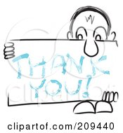 Royalty Free RF Clipart Illustration Of A Long Nosed Sketch Guy Holding A THANK YOU Sign Board by MacX