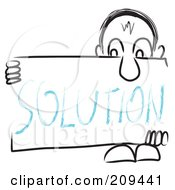 Royalty Free RF Clipart Illustration Of A Long Nosed Sketch Guy Holding A SOLUTION Sign Board by MacX