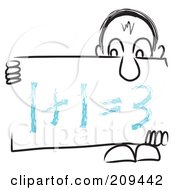 Royalty Free RF Clipart Illustration Of A Long Nosed Sketch Guy Holding A Math Sign Board by MacX