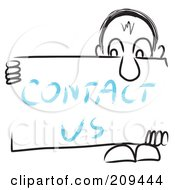 Royalty Free RF Clipart Illustration Of A Long Nosed Sketch Guy Holding A CONTACT US Sign Board by MacX