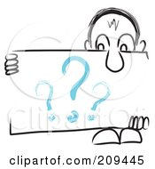 Royalty Free RF Clipart Illustration Of A Long Nosed Sketch Guy Holding A Question Sign Board by MacX