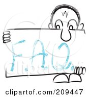 Royalty Free RF Clipart Illustration Of A Long Nosed Sketch Guy Holding An FAQ Sign Board by MacX