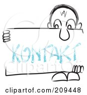 Royalty Free RF Clipart Illustration Of A Long Nosed Sketch Guy Holding A Kontakt Sign Board by MacX