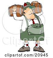 Oktoberfest Man Carrying Two Beer Keg Wood Barrels On His Shoulders