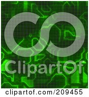 Royalty Free RF Clipart Illustration Of A Seamless Green Computer Grid Background