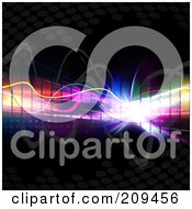 Royalty Free RF Clipart Illustration Of A Colorful Equalizer With Bright Light Squiggly Lines And Halftone On Black
