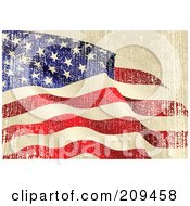Royalty Free RF Clipart Illustration Of A Grungy Beige Red White And Blue American Flag Background With Distress Marks