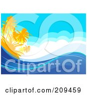 Royalty Free RF Clipart Illustration Of A Tropical Ocean Background With Palm Trees Clouds And Waves by Pushkin