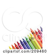 Royalty Free RF Clipart Illustration Of A Corner Of Colorful Crayons