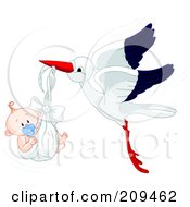 Royalty Free RF Clipart Illustration Of A Cute Stork Flying A Baby Boy With A Pacifier In A Blanket by Pushkin