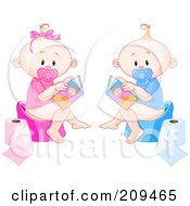 Royalty Free RF Clipart Illustration Of A Digital Collage Of A Boy And Girl Reading While Using The Potty