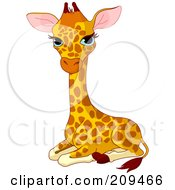 Royalty Free RF Clipart Illustration Of A Baby Giraffe Resting