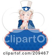 Royalty Free RF Clipart Illustration Of A Pointing And Smiling Uncle Sam Over A Blue Starry Sign by Pushkin