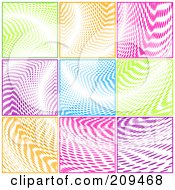 Background Of Blocks Of Colorful Halftone Curves