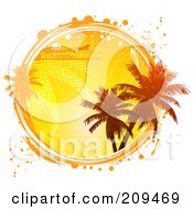 Royalty Free RF Clipart Illustration Of A Circle Of A Plane Palm Trees And An Orange Sunset With White And Orange Grunge Marks by elaineitalia
