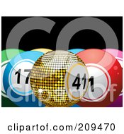 Royalty Free RF Clipart Illustration Of A Golden Bingo Or Lottery Ball With Colorful Solid Balls by elaineitalia