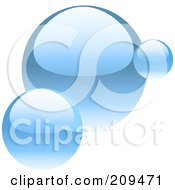 Royalty Free RF Clipart Illustration Of A Trio Of Shiny Blue Bubbles by elaineitalia