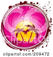 Royalty Free RF Clipart Illustration Of A Grungy Circle Of Palm Trees Under A Pink Sunset With Red And White Grunge Marks