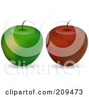 Digital Collage Of Red And Green Organic Apples