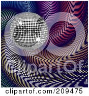 Royalty Free RF Clipart Illustration Of A Silver Disco Ball Over Colorful Swirls