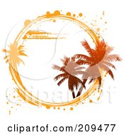 Royalty Free RF Clipart Illustration Of A White Circle With Palm Trees And White And Orange Grunge Marks by elaineitalia