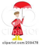 Royalty Free RF Clipart Illustration Of A Happy Boy In A Red Rain Coat Holding Up An Umbrella by mheld