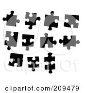 Royalty Free RF Clipart Illustration Of A Digital Collage Of Black And White Puzzle Pieces by JR