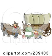 Royalty Free RF Clipart Illustration Of A Pioneer Family And Pig In Front Of Two Horses Pulling A Covered Wagon Along The Oregon Trai by Dennis Cox