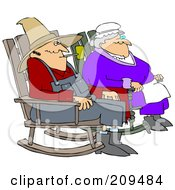 Royalty Free RF Clipart Illustration Of A Relaxed Couple Sitting In Rocking Chairs by djart