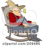 Royalty Free RF Clipart Illustration Of An Old Man Smoking A Pipe And Sitting In A Rocking Chair
