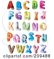 Digital Collage Of 3d Isometric Colorful Capital Letters