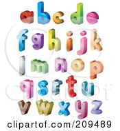 Digital Collage Of 3d Isometric Colorful Lowercase Letters