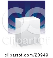 Clipart Picture Of A Plain White Product Box For Software Or A Package On A White Surface With Blue Rays In The Background